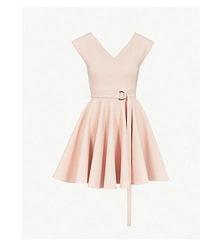 MAJE Rimae belted crepe mini dress (Pink