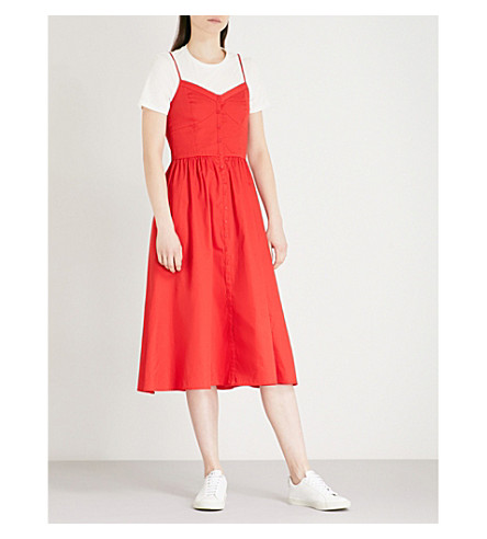 MAJE Rimana short-sleeve cotton dress (Red