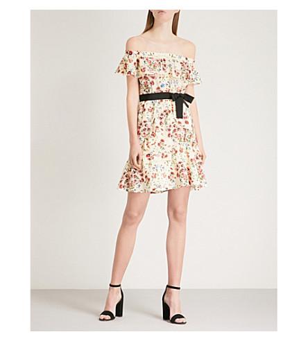 MAJE Rinora off-the-shoulder floral-print silk mini dress (Multi-coloured