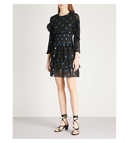 MAJE Rocko embroidered chiffon mini dress (Black+210
