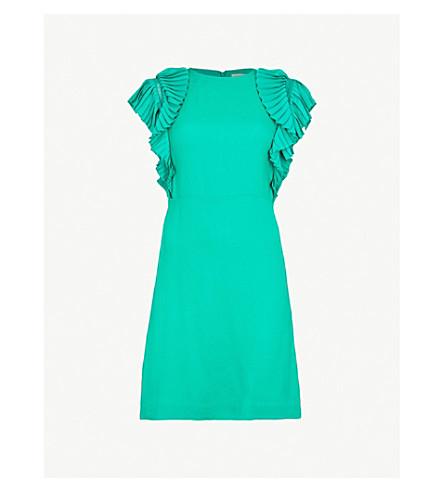 MAJE Ruffled crepe dress (Green
