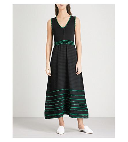 Romaine striped-trim knitted dress