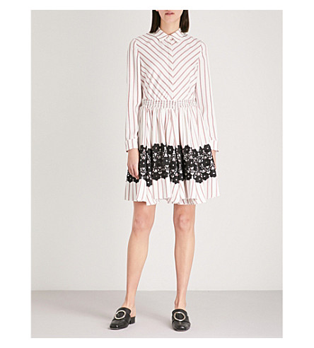 MAJE Striped flared lace detail dress (Multi-coloured