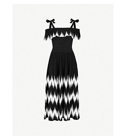 MAJE Chevron-patterned knitted dress (Black