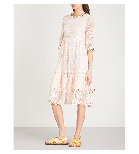MAJE Roso guipure lace dress (Rose