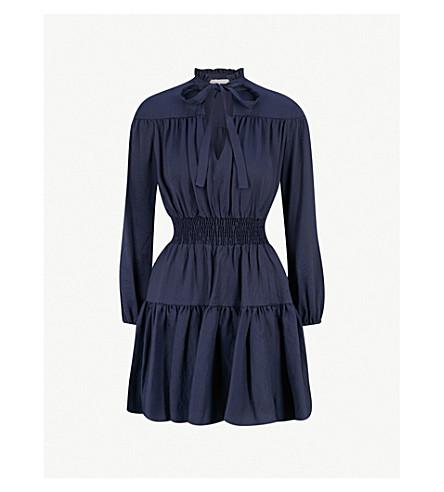 MAJE Rosseane neck-tie woven dress (Night+blue