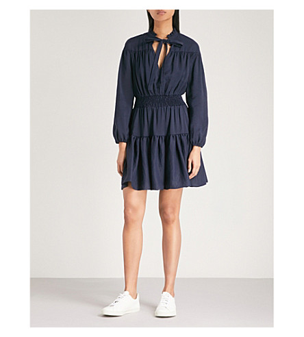 MAJE Rosseane neck-tie woven dress (Night+blue