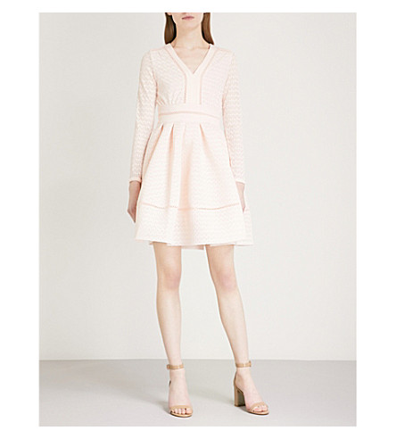 MAJE Rossignol grosgrain-trimmed pleated lace mini dress (Cream