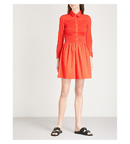 MAJE Roumpa smocked cotton mini shirt dress (Red
