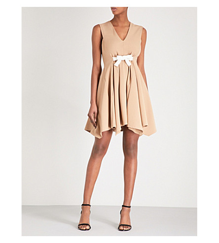 MAJE Bow-waist jersey dress (Camel