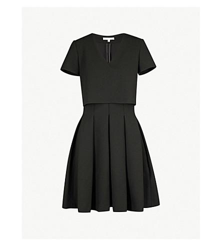 MAJE Rozane pleated crepe dress (Black