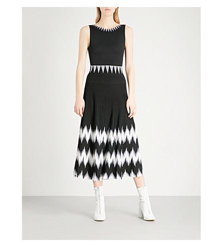 MAJE Ruche sleeveless knitted midi dress (Black