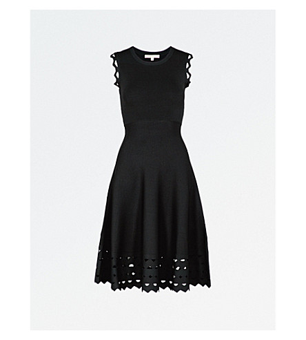 MAJE Rumba cutout hem fit-and-flare dress (Black+210