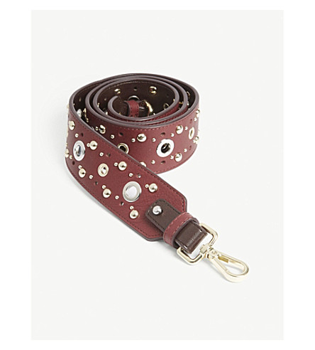 MAJE Studs and grommet leather bag strap (Red