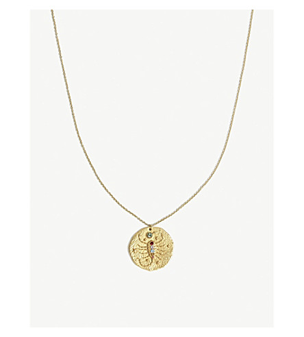 MAJE Scorpion brass coin necklace (Gold
