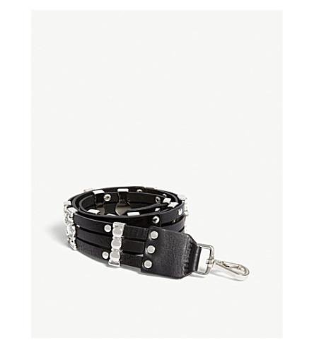 MAJE Seven studded leather bag strap (Black