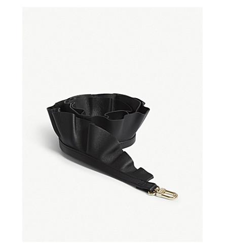 MAJE Leather ruffled bag strap (Black