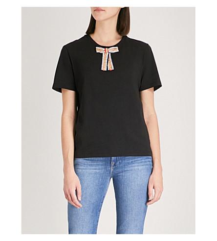 MAJE Jewel detail cotton T-shirt (Black