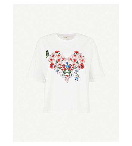 MAJE Tama embroidered-florals cotton-jersey T-shirt (White