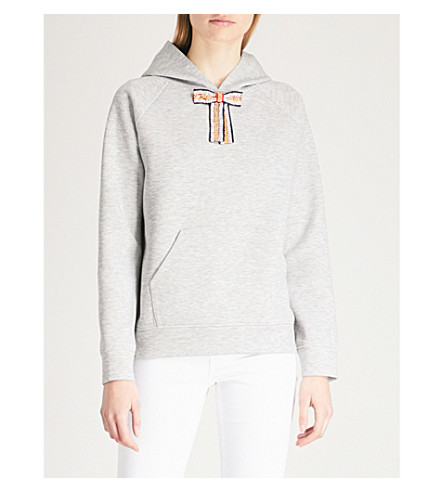 MAJE Embellished bow detail hoody (Grey
