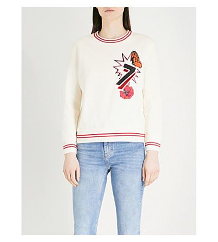 MAJE Tea embroidered jersey sweatshirt (Cream