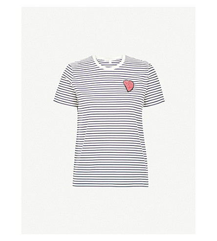 MAJE Teddy striped cotton-jersey T-shirt (Multi-coloured