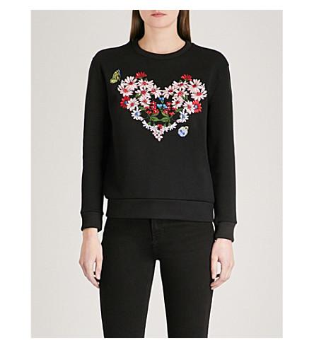 MAJE Telbi embroidered jersey sweatshirt (Black