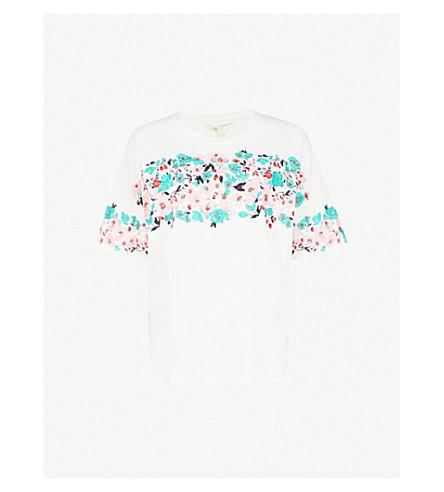 MAJE Tenerif embroidered cotton-jersey T-shirt (Cream