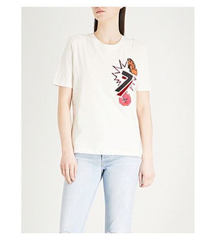 MAJE Tiao embroidered cotton-jersey T-shirt (Cream