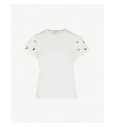 MAJE Tigri bee-embroidered cotton-jersey T-shirt (Ecru