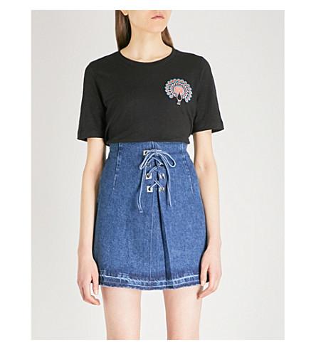 MAJE Peacock-print linen T-shirt (Black