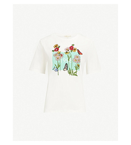 MAJE Floral embroidered cotton-jersey T-shirt (White
