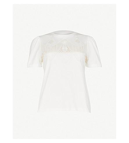 MAJE 花边细节平纹针织棉 T 恤 (本色