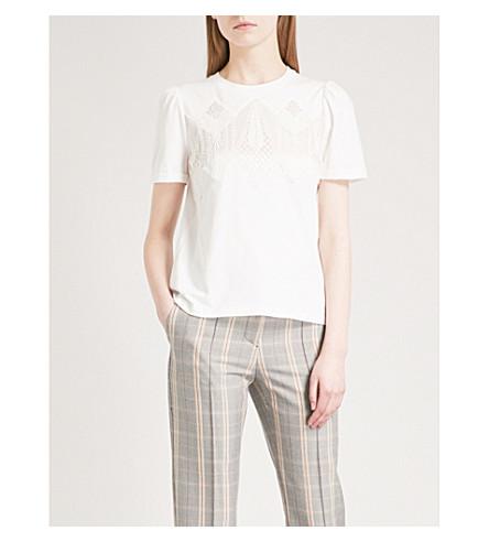 MAJE Lace-detail cotton-jersey T-shirt (Ecru