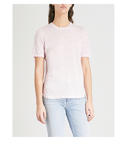 MAJE Marl-effect linen T-shirt (Purple