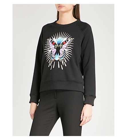 MAJE Tory embroidered-butterfly jersey sweatshirt (Black+210