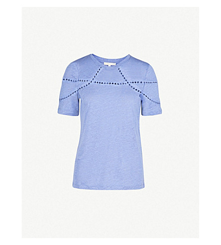 MAJE Cutouts linen and cotton-blend T-shirt (Blue