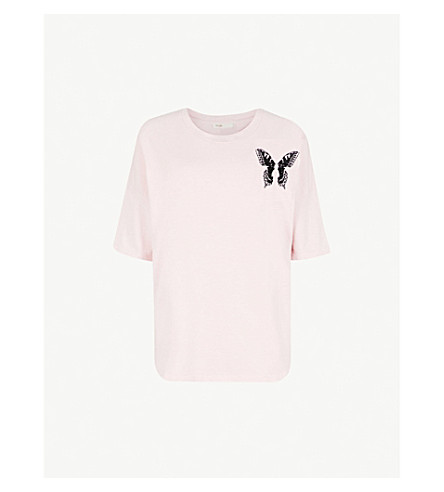 MAJE Turner embroidered cotton-jersey T-shirt (Pink
