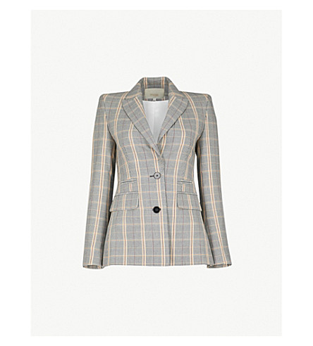 MAJE Valila single-breasted woven jacket (Carreaux