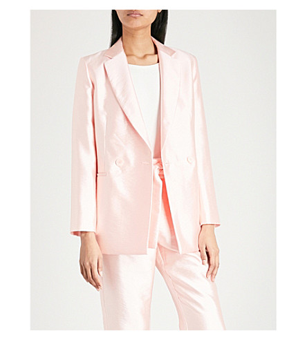 MAJE Double-breasted woven blazer (Pink