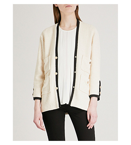 MAJE Vega cotton tweed blazer (Cream