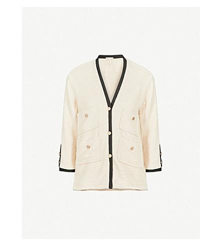 MAJE Vega cotton tweed blazer (Ecru