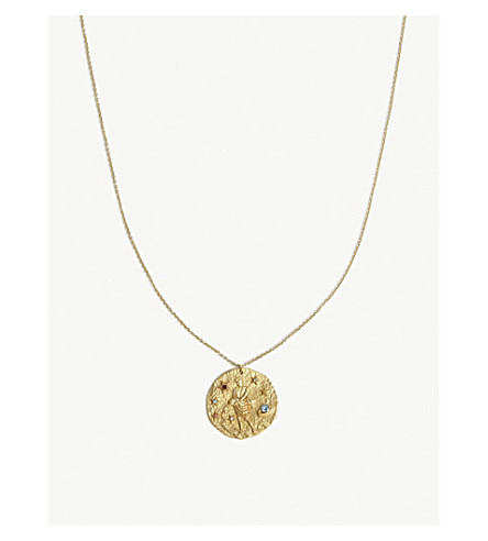 MAJE Verseau Aquarian zodiac brass coin necklace (Gold