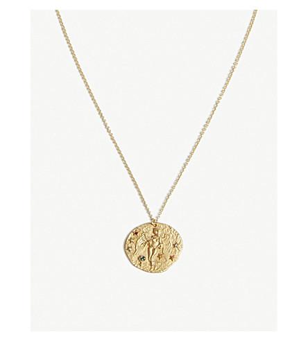 MAJE Virgo Zodiac Sign brass and Swarovski crystal pendant necklace (Or