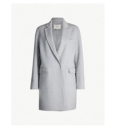 MAJE Single-breasted brushed wool-blend coat (Grey