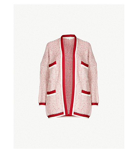 MAJE Magda chunky knitted cardigan (Red