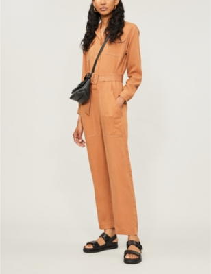 Paromane belted lyocell and linen-blend jumpsuit