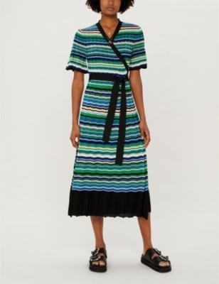 Ramacca striped knitted maxi wrap dress