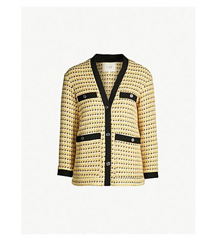 MAJE Visidore cotton-blend tweed jacket (Yellow