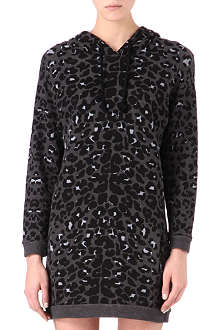 MAJE Leopard-print hooded dress